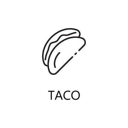 Taco Line Icon Single High Quality Symbol Of Fast Food For Web