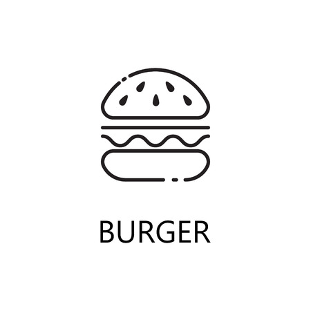 Burger Line Icon Single High Quality Symbol Of Fast Food For