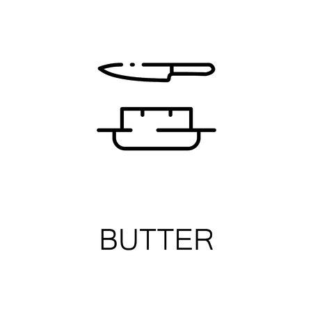 icona piatta burro. Singolo simbolo di struttura di alta qualità del cibo del latte per il web design o di app mobile. linea segni sottili di burro per la progettazione, biglietto da visita, ecc Schema pittogramma di burro
