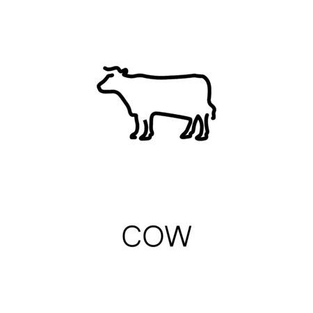 Cow flat icon. Single high quality outline symbol of animal for web design or mobile app. Thin line signs of cow for design , visit card, etc. Outline pictogram of cow