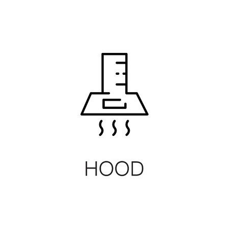 extractor: Hood flat icon. Single high quality outline symbol of kitchen equipment for web design or mobile app. Thin line signs of hood for design , visit card, etc. Outline pictogram of hood Illustration