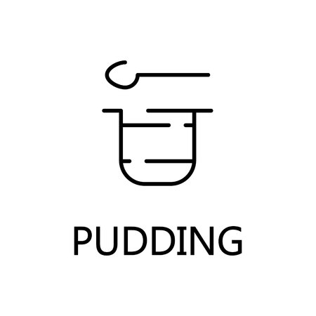 flan: Pudding flat icon. Single high quality outline symbol of sweets for web design or mobile app. Thin line signs of pudding for design logo, visit card, etc. Outline pictogram of pudding