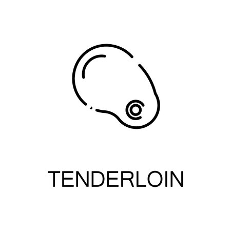 strip a cow: Tenderloin flat icon. Single high quality outline symbol of meat food for web design or mobile app. Thin line signs of tenderloin for design logo, visit card, etc. Outline pictogram of tenderloin