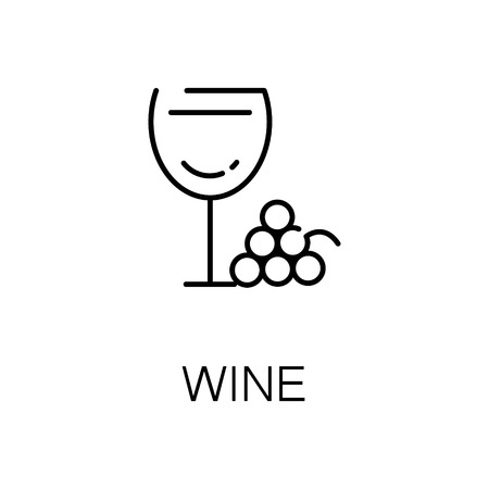 Wine flat icon. Single high quality outline symbol of alcohol for web design or mobile app. Thin line signs of wine for design logo, visit card, etc. Outline pictogram of wine.