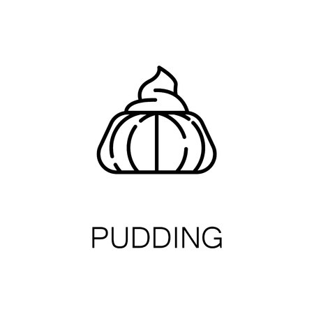 vanilla pudding: Pudding flat icon. Single high quality outline symbol of bakery for web design or mobile app. Thin line signs of pudding for design  , visit card, etc. Outline pictogram of pudding