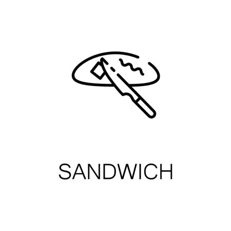 crusty: Sandwich flat icon. Single high quality outline symbol of bakery for web design or mobile app. Thin line signs of sandwich for design logo, visit card, etc. Outline pictogram of sandwich