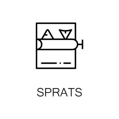 open sandwich: Sprats flat icon. Single high quality outline symbol of seafood for web design or mobile app. Thin line signs of sprats for design  , visit card, etc. Outline pictogram of sprats Illustration