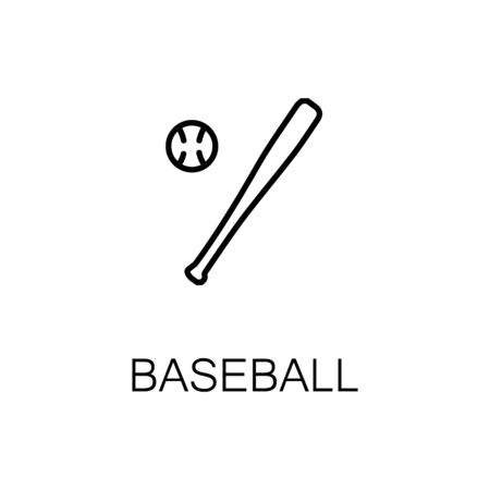 bunt: Baseball flat icon. Single high quality outline symbol of Sports for web design or mobile app. Thin line signs of baseball for design logo, visit card, etc. Outline pictogram of baseball