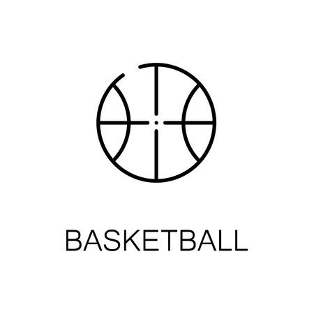 Basketball flat icon. Single high quality outline symbol of sport for web design or mobile app. Thin line signs of basketball for design  , visit card, etc. Outline pictogram of basketball