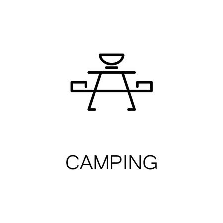 soiree: Camping flat icon. Single high quality outline symbol of recreation for web design or mobile app. Thin line signs of camping for design logo, visit card, etc. Outline pictogram of camping