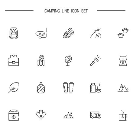 caravans: Camping flat icon set. Collection of high quality outline symbols of meat food for web design, mobile app. Vector thin line  icons or logo of animals, mountains, thermos,caravans, te, etc.