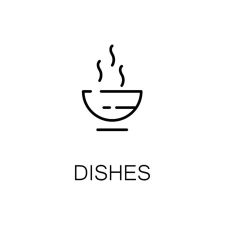 cereal bar: Dishes flat icon. Single high quality outline symbol of camping for web design or mobile app. Thin line signs of dishes for design logo, visit card, etc. Outline pictogram of camping dishes