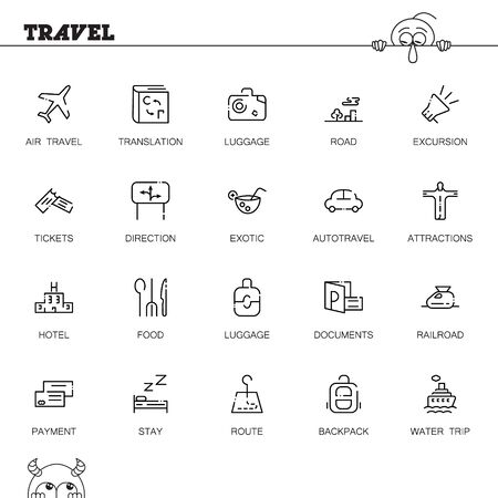 Travel flat icon set. Collection of high quality outline symbols of tourism for web design, mobile app. Vector thin line icons or logo of luggage, document, direction, ship, hotel, etc Stock Vector - 69556331