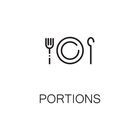 www tasty: Portion flat icon. Single high quality outline symbol of plate for web design or mobile app. Thin line signs of portions for design logo, visit card, etc. Outline pictogram of plate
