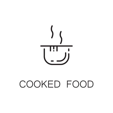 Cooked food flat icon. Single high quality outline symbol of food for web design or mobile app. Thin line signs of pan for design logo, visit card, etc. Outline pictogram of cooked food Illustration