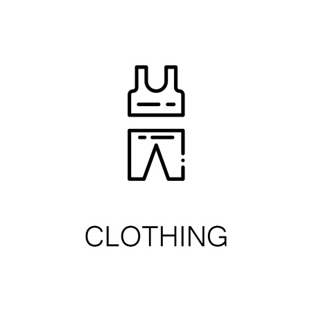 Clothing flat icon. Single high quality outline symbol of fitness for web design or mobile app. Thin line signs of uniform for design logo, visit card, etc. Outline pictogram of clothing Illustration