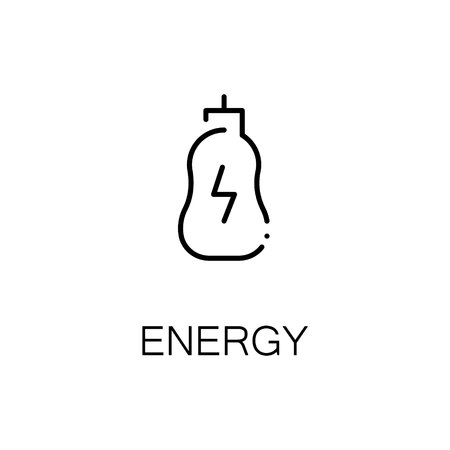 Energy drink flat icon. Single high quality outline symbol of fitness for web design or mobile app. Thin line signs of energy for design logo, visit card, etc. Outline pictogram of bottle