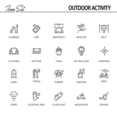 Outdoor activity flat icon set. Collection of high quality outline symbols of camping for web design, mobile app. Vector thin line icons or logo of rafting, forest, campfire, mountains, etc.