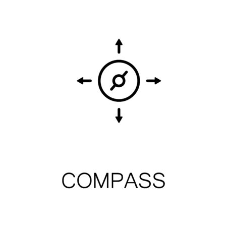 Compass flat icon. Single high quality outline symbol of outdoor activity for web design or mobile app. Thin line signs of compass for design logo, visit card, etc. Outline pictogram of compass