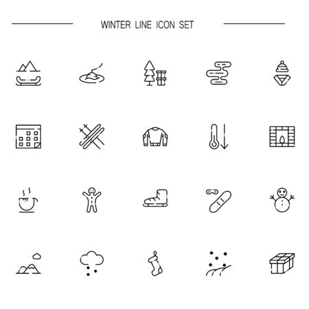 santa sleigh: Winter flat icon set. Collection of high quality outline symbols of season for web design, mobile app. Vector thin line vector icons or logo of snow, ice, snowman, holiday, ski, etc. Illustration