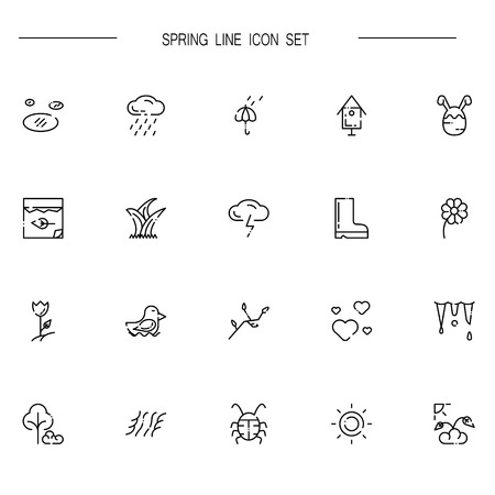 coil springs: Spring flat icon set. Collection of high quality outline symbols of season for web design, mobile app. Vector thin line vector icons or logo of insects, sun, flower, rain, bird, etc