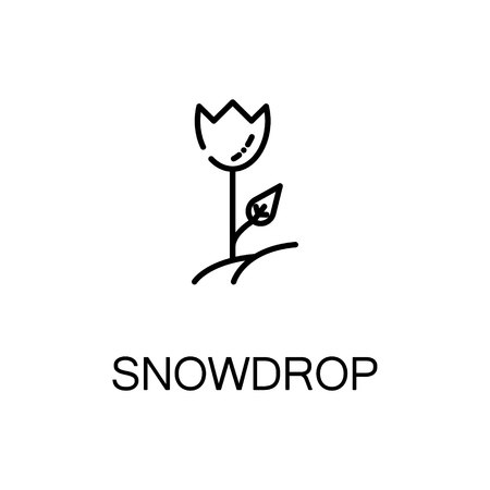 Snowdrop flat icon. Single high quality outline symbol of spring for web design or mobile app. Thin line signs of snowdrop for design logo, visit card, etc. Outline pictogram of snowdrop Illustration
