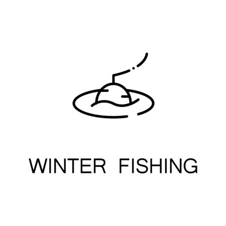 freetime: Winter fishing flat icon. Single high quality outline symbol of winter for web design or mobile app. Thin line signs of fishing for design logo, visit card, etc. Outline pictogram of fishing Illustration