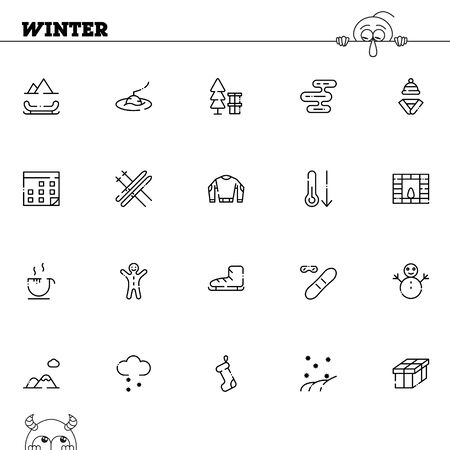 christmas cookie: Winter flat icon set. Collection of high quality outline symbols of season for web design, mobile app. Vector thin line vector icons or logo of snow, ice, snowman, holiday, ski, etc. Illustration