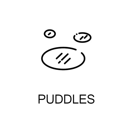 unsound: Puddles flat icon. Single high quality outline symbol of spring for web design or mobile app. Thin line signs of puddles for design logo, visit card, etc. Outline pictogram of puddles