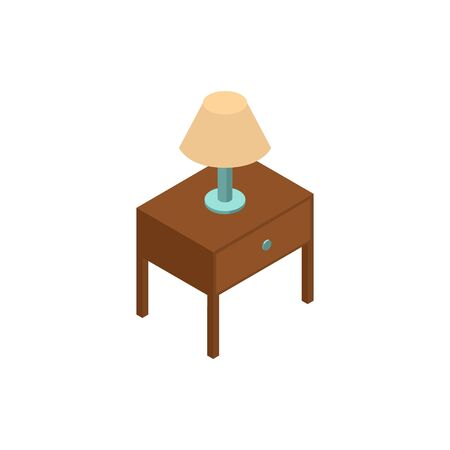Lamp isometric icon or logo. 3d vector illustration of lamp. Isometric vector furniture. Element of home interior for web design, mobile app, infographic. Vector isometric icon of lamp.