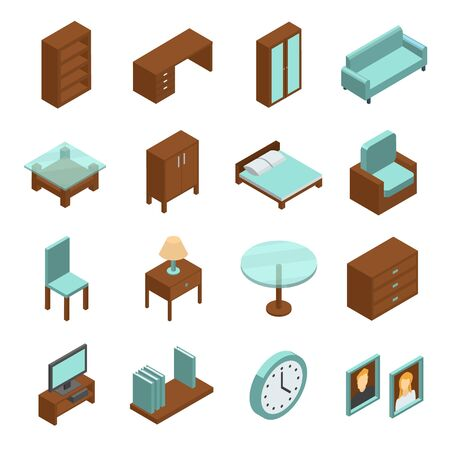 Home interior isometric icons set. Collection of high quality pictograms of furniture for web design, mobile app. Isometric symbols of wardrobe, chair, bed, sofa, table. Vector isometric illustration.