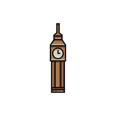 Big Ben flat icon. Single high quality symbol of London Big Ben for web design, mobile app. Sign of Englands tower for design logo, visit card, etc. Icon of Big Ben