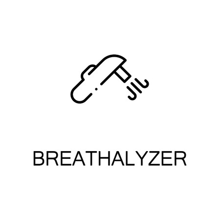 drunk driving: Breathalyzer flat icon. High quality outline symbol of medical euipment for web design, mobile app. Thin line signs of breathalyzer for design logo, visit card, etc. Outline pictogram of breathalyzer