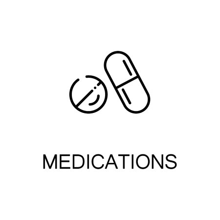 medications: Medications flat icon. High quality outline symbol of medical euipment for web design or mobile app. Thin line signs of medications for design logo, visit card, etc. Outline pictogram of medications