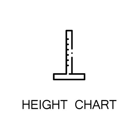 height chart: Height chart flat icon. High quality outline symbol of medical euipment for web design or mobile app. Thin line signs of height chart for design logo, visit card, etc. Outline pictogram of height chart
