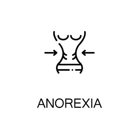 anorexia: Anorexia flat icon. Single high quality outline symbol of illness and injury for web design or mobile app. Thin line signs of anorexia for design logo, visit card, etc. Outline pictogram of anorexia