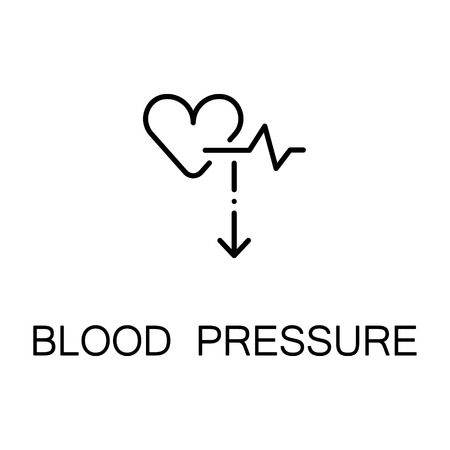 systolic: Blood pressure flat icon. Single high quality outline symbol of illness and injury for web design or mobile app. Thin line sign of pressure for design logo, visit card, etc. Outline pictogram of heart Illustration