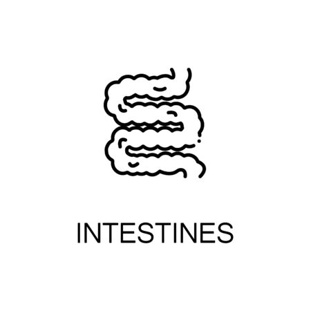 sigmoid colon: Intestines flat icon. Single high quality outline symbol of human body for web design or mobile app. Thin line signs of intestines for design logo, visit card, etc. Outline pictogram of intestines Illustration