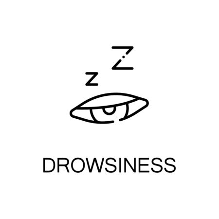 snore: Drowsiness flat icon. High quality outline symbol of illness and injury for web design or mobile app. Thin line sign of drowsiness for design logo, visit card, etc. Outline pictogram of drowsiness Illustration