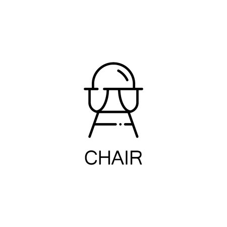 baby stuff: Chair flat icon. Single high quality outline symbol of baby stuff for web design or mobile app. Thin line signs of chair for design logo, visit card, etc. Outline pictogram of chair