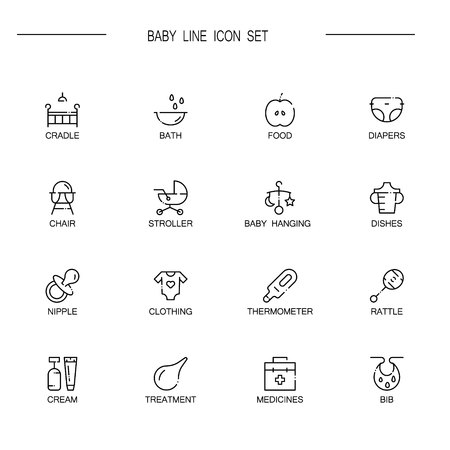 baby stuff: Baby flat icon set. Collection of high quality outline symbols of baby stuff for web design, mobile app. Vector thin line icons or logo ofcradle, stroller, diapers, rattle, nipple, etc.