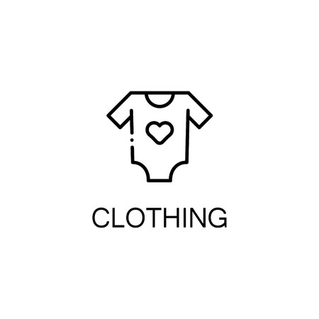 baby stuff: Clothing flat icon. Single high quality outline symbol of baby stuff for web design or mobile app. Thin line signs of clothing for design logo, visit card, etc. Outline pictogram of baby clothing