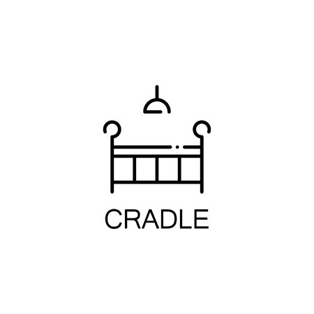 baby stuff: Cradle flat icon. Single high quality outline symbol of baby stuff for web design or mobile app. Thin line signs of cradle for design logo, visit card, etc. Outline pictogram of cradle