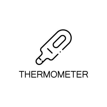 baby stuff: Thermometer flat icon. Single high quality outline symbol of baby stuff for web design or mobile app. Thin line signs of thermometer for design logo, visit card, etc. Outline pictogram of thermometer Illustration