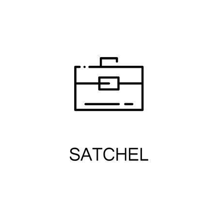 satchel: Satchel flat icon. Single high quality outline symbol of education for web design or mobile app. Thin line signs of Satchel for design logo, visit card, etc. Outline pictogram of Satchel