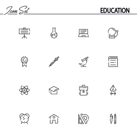 icons: Education flat icon set set. Collection of high quality outline symbols of education for web design, mobile app. Vector thin line icons or logo of board, microscope, book, pen, atom, pencil, ruler. Illustration