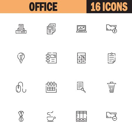 Office Flat Icon Set Set Collection Of High Quality Outline