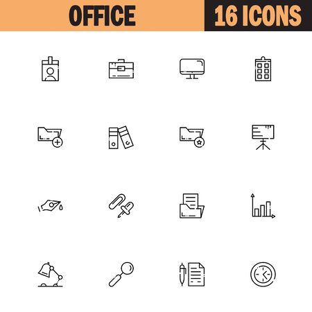 cash book: Office flat icon set set. Collection of high quality outline symbols of office for web design, mobile app. Vector thin line icons or logo of pass, archive, board, lamp, search, document.