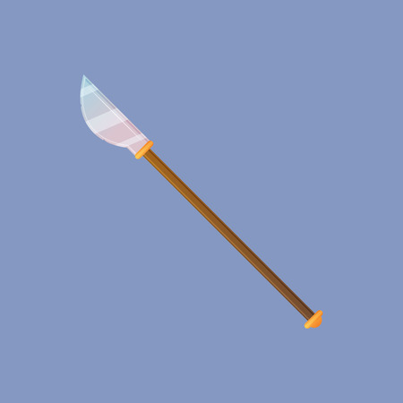 cold war: Spear vector illustration. Single decoration weapon for game on blue background. Medieval cartoon weapon for web design or mobile app.