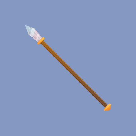 joust: Spear vector illustration. Single decoration weapon for game on blue background. Medieval cartoon weapon for web design or mobile app.